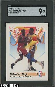 1991-92 Skybox Great Moments #333 Michael Jordan VS Magic Johnson HOF SGC 9