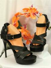 BURBERRY Prorsum Very High Heels w.Plateau Leather Sandals Black Sz EU 41 / US10