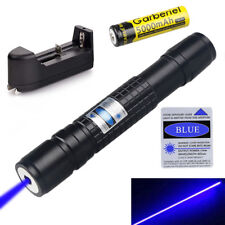 20Miles Military Blue& Purple 405nm Laser Pointer Pen Visible Beam+18650&Charger