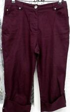 """( Ref 748 ) Dash - Size 14 W 32"""" - Ladies Burgundy Cropped Cotton Trousers"""