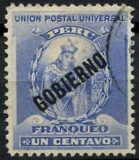Peru 1896-1900 SG#O348, 1c Ultramarine, Official Used #E1287