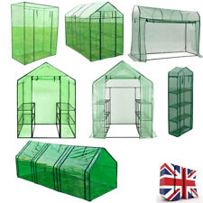 Outdoor Walk In Greenhouse PVC Plastic Plant Grow House with Shelves Steel Frame