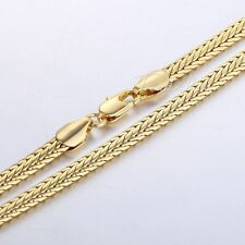 "19.57"" MENS WOMENS Yellow Gold Filled GF Chain Necklace 4mm Braided Foxtail Link"