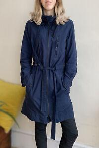 In Wear Designer Trench Rain Coat S Uk 8 10 Hood Navy Blue Large Pockets