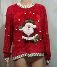 GANTOS Womans Red Ugly Christmas Sweater Santa Claus - Size L