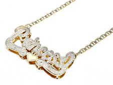 10K Real Yellow Gold Personalized Name Plate/Tag Nameplate Chain/Necklace Double