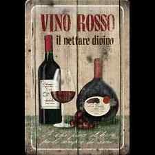 Targa in Latta Vintage Vino Rosso 20x30 in metallo stampato