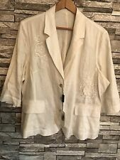 PUNT & ROMA WOMEN LINEN Blazers /Off-White/ Formal /Size: 🇬🇧 UK 18 (Eur48)