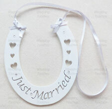 Just Married Wedding Handmade Wood Horseshoe Hanging with Silver Decoration