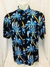 Princess Cruises Hawaiian Shirt. Mens. XL. Black And Blue Palm Trees. Rayon.