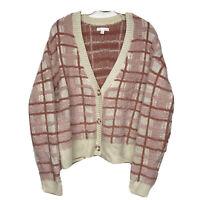 LAUREN CONRAD-Pink/Blush Plaid Cardi!Sweater/ Cardigan.Soft/Plush/Plus Sz L.$68.