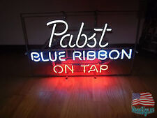 """Pabst Blue Ribbon Beer Pub Bar on Top Neon Sign 20""""x16"""" From USA"""
