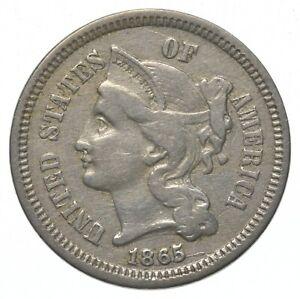 ***3***THREE***Cent*** - 1865 Three Cent Nickel Piece - Tough to Find *404