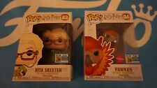 2 Funko Pop SDCC 2019 Excl Harry Potter Rita Skeeter + Fawkes *Official Sticker*