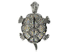 Retro Detailed Shiny Silver AB Diamante Rhinestone Tortoise Turtle Pin Brooch
