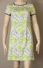 DAVID LAWRENCE Size 8 Floral Tulip Print Fitted Shift DRESS Lime Green, White