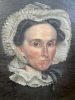Antique American Folk Art Portrait Of Fancy Woman c.1800 Attributed Peck