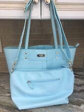 2 piece BCBG Handbag- Crossbody Style and Tote Bag -Gently Used-Baby Blue