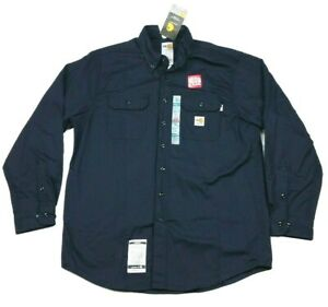 Carhartt Flame Resistant Twill Navy Blue Flap Pocket Button Up Shirt Large Reg