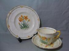 Crown Staffordshire Tea Trio Handpainted Daffodil Deco F12953