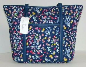 Vera Bradley Small Trimmed Vera Tote Scattered Wildflowers