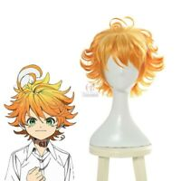 The Promised Neverland Emma Cosplay Wig Short Orange Ombre Hair Gradient Curly