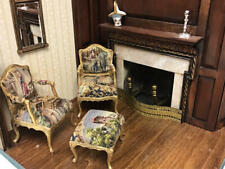 DOLLHOUSE MINIATURE WILLIAMSON WALTON MARBLE CHAIRS, OTTOMAN PETIT POINT