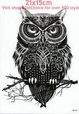 BIG UK 21X15CM Wicked owl 3D MAN LADY Body Art Temporary Tattoo ARM BACK