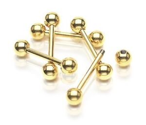 New Gold Plated Barbell Stud with Balls Eyebrow Tragus Labret Helix Cartilage