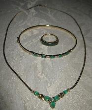 14 KT Yellow Gold Necklace/ Bangle bracelet/ Ring Emeralds & Diamond LOT