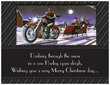 20 CHRISTMAS Motorcycle HARLEY Santa Sleigh Greeting Flat CARDS Envelopes Seals