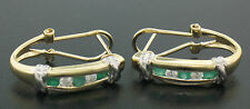 14K Solid Gold Cuff Earrings with 0.87ctw of 4 Rd. Diamonds & 6 Rd. Emeralds
