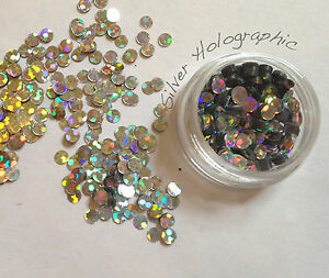 Nail Art Glitter Studs sequin discs dots 3mm - Silver Holographic