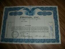 VINTAGE STOCK CERTIFICATE PHOTON INC 30 SHRAES 1968