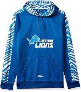 Zubaz NFL Football Men's Small Detroit Lions Zebra Accent Solid Hoodie NEW