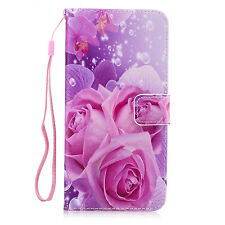 Stand Folding PU Leather Case ID Card Slot Holder Cover for Various Phone Models Flower Samsung Galaxy A7 2015