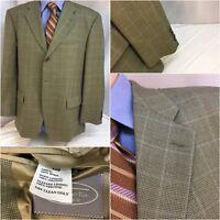 Talbot's Blazer 42S Tan Plaid Wool 3b 42 S Made Portugal Mint YGI B8-273
