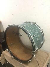 "Ludwig 24"" bass drum Blue Oyster/Bowling Ball blue olive badge  Virgin (almost)"