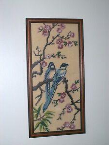 Vintage Completed Framed Tapestry Two Birds On Blossom