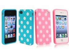 Baby Blue + Pink White Polka Dot TPU Rubber Skin Case for Apple iPhone 4 4S 4G