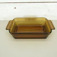 Vintage Anchor Hocking Amber Glass Loaf Pan Casserole Dish Rectangular 1409.