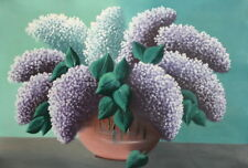 EUROPEAN VINTAGE OIL PAINTING STILL LIFE WITH LILACS