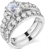 925 Sterling Silver Ladies Luxury Wedding Engagement Bridal Band Ring Set