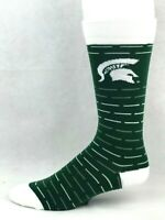 Michigan State Spartans For Bare Feet Green Crew Socks with White and Gray Lines