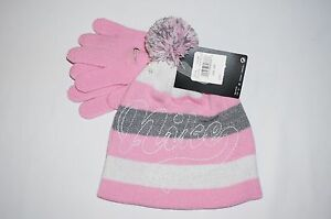 NWT NIKE 2pc knit hat & glove Girl  4-6X pink, grey,white
