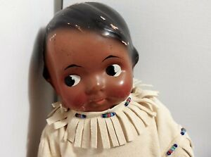 Vintage Black Native American composition doll, possibly Averill 1920's HCQ mark