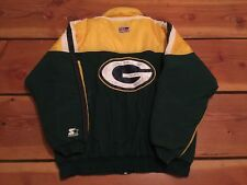VTG🔥 Starter NFL Green Bay Packers Gold Proline Big G Full Zip Puffer Jacket L