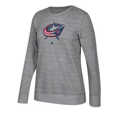 Columbus Blue Jackets NHL Adidas Women's Grey Distressed Team Logo Comfy Fleece