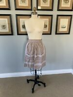 Vintage Apron Brown and White Gingham with RicRak Details and Pockets