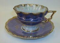 Vintage Fan Crest Japan Cup Saucer Set - Iridescent Blue Gold